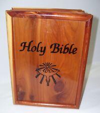 "Bible Storage Box Cedar Wood & Combo Trinket Box Mint Unmarred Condition 9.5x7"""