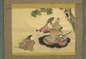 """掛軸1967 JAPANESE HANGING SCROLL """"Kusunoki Masashige""""  @m892"""
