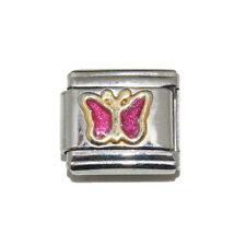 Bright Pink Sparkly Butterfly enamel Italian Charm - fits 9mm classic bracelets