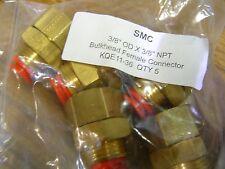 "QTY 5 SMC KQE11-36 Bulkhead Female one touch push connector 3/8"" OD X 3/8"" NPT"