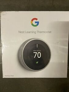 Google Nest 3rd Gen Learning Stainless Steel Thermostat Brand New In Box