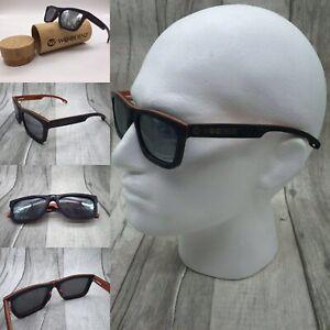 Men's Handcrafted Black Skate Wood Frame Silver Mirror Polarized Sunglasses