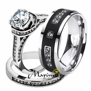 Her His 3pc Stainless Steel Wedding Engagement Ring & Titanium Wedding Band Set
