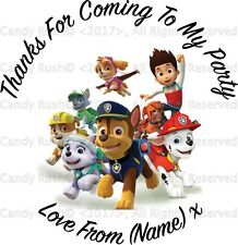 24 Personalised Paw Patrol Birthday Party Thank You Stickers Labels Sweet Cones