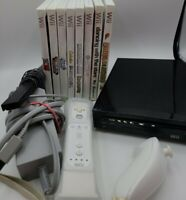 Nintendo Wii black Console Bundle w/ 8 Games wii motion plus wii mote. Tested