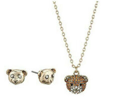 Betsey Johnson 37B14510-S01 Pave Teddy Bear Pendant Necklace & Stud Earrings Set