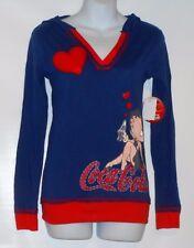 Betty Boop Coco-Cola Junior Long Sleeve Hooded Sleep Top Dark Blue Small (S) NWT