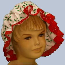 Girls Victorian / Edwardian Medievalc holly mop cap fancy dress costume red lace