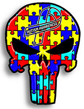 Autism Awareness Punisher skull Sticker Decal, 6 Different sizes Truck Windows
