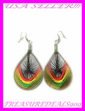 NEW PAIR OF RASTA THREAD EARRING REGGAE PEACOCK JAMAICAN HIPPIE CHIC TEAR DROP