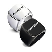 Fashion DIY Personalized Stainless Steel Custom Engraved Men's Finger Ring Band