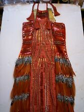 GUCCI DESIGNER RUN WAY ORANGE SILK FEATHER METAL TRIM DRES WOMENS 4 ITAL 38 RARE