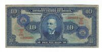 Brasilien 10 Cruzeiros Rosacea 10 Mil Reis 1942 P126 / C 003 - Brazil Banknote