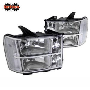 07-13 GMC Sierra Truck Chrome Housing Headlights w/Clear Reflector Crew Single