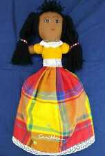 """Topsy-Turvy Souvenir Caribbean 18"""" Cloth Doll Braids Beads Colorful Handcrafted"""