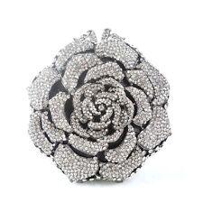 Korea Women Bag Silver Luxury  Rose Rhinestone Handbag Purse Shoulder