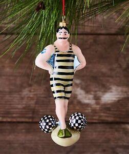 MacKenzie-Childs STRONG MAN Glass Ornament - NIB
