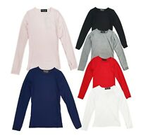 Kids Long Sleeve Plain Basic Top Girls T-Shirt Tops Crew Uniform Teen Age 2-14 Y