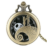 Tim Burton's The Nightmare Before Christmas Pocket Watch Pendant Necklace Chain