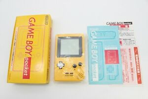 Nintendo Gameboy Pocket Console Yellow with Box and Manual Japan Tested Mint