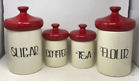 Vintage Mid-Century Modern Ceramic Kitchen Canister Set By Holiday Designs