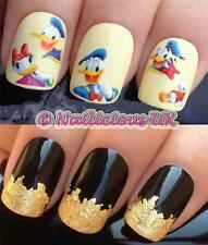 NAIL ART SET #511. DONALD/DAISY DUCK WATER TRANSFERS/DECALS/STICKERS & GOLD LEAF