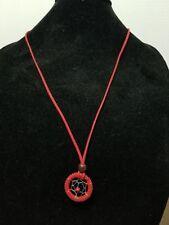 Long Necklace Faux Red Suede Dream Catcher Pendant / Charms    Z7