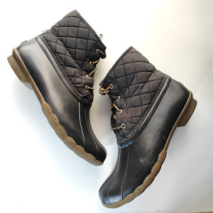 Sperry Saltwater Quilted Duck Boot Rubber Waterproof Size 10 M Black STS94063