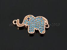 Zircon Gemstones Pave Turquoise Elephant Bracelet Connector Charm Beads Silver