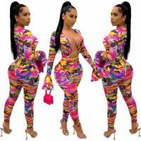 Ladies Sexy Hollow V Neck Camo Bodycon Long Sleeve Jumpsuit Bodysuit Romper Club