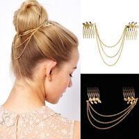 Women& Gold Color Tassel Leaf Comb Cuff Chain Jewelry Headband Hair Band SP