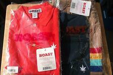 1 Pr Nwt Boast Men's Tennis/Swim Trunks Small Lined Tan/Navy Orange Polo Shirt