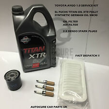 TOYOTA AYGO 1.0 05-12 SERVICE KIT OIL+AIR FILTER SPARK PLUGS 5L SYN ENGINE OIL