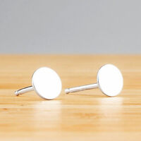 1 pair .925 Solid Sterling Silver Round Flat Disc Stud Earrings 4mm 5mm 6mm J071