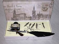 Antique Vintage Style Desk Set with Inkwell +1 Feather Dip Pen Ink +4 extra Tips