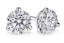 14K White Gold Natural Round Brilliant Diamond Martini Set Stud Earrings 2TCW