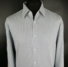 JOOP! Mens Formal Shirt 45 / 17 3/4 Long Sleeve White Regular Striped Cotton