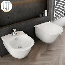 Sanitari sospesi in ceramica vaso + bidet + copri wc soft close design moderno