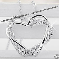 BLACK FRIDAY DEALS - Silver Heart Crystal Necklace Xmas Love Gifts For Her Women