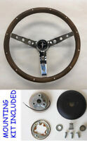 "1965-1969 Ford Mustang Grant Steering Wheel Wood 15"" high rise cap"
