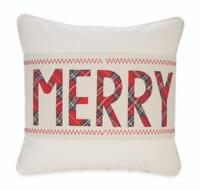 "Mud Pie Home ""Merry"" Red Tartan Christmas Pillow Wrap and 15"" Reversible Pillow"