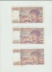 FRANCE  3  X  20  FRANCS  1991,1993,1997