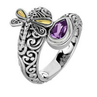 Women 925 Silver Amethyst Citrine Ring Wedding Party Jewelry Gift Size 5-10