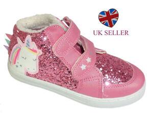 Girls Children Pink Glitter Sparkly Glitter Unicorn High Top Trainers Fashion