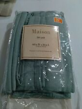 "Maison Tier Pair Green Linen Blend Curtains 60"" X 36"""