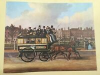 "Vintage ""Kendall's Omnibus Passing Islington Green, by J. Pollard, 1848"" Print"