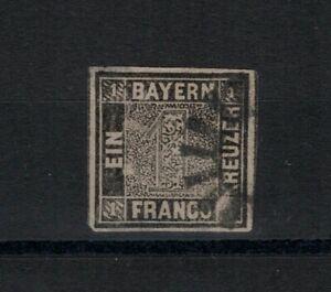 German States Bavaria 1 black Kreuzer Mi. Sc.  #1