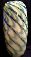 VINTAGE HAND BLOWN BLUE GREEN AND WHITE SWIRLED VASE BY EASTERN