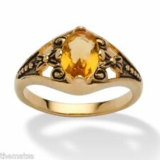 WOMENS ANTIQUED 14K GOLD BIRTHSTONE NOVEMBER CITRINE RING  5 6 7 8 9 10