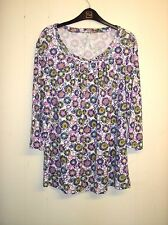 Lovely White, Blue & Pink Floral 3/4 Sleeve Top from BM Casual, Size L, BNWOT!